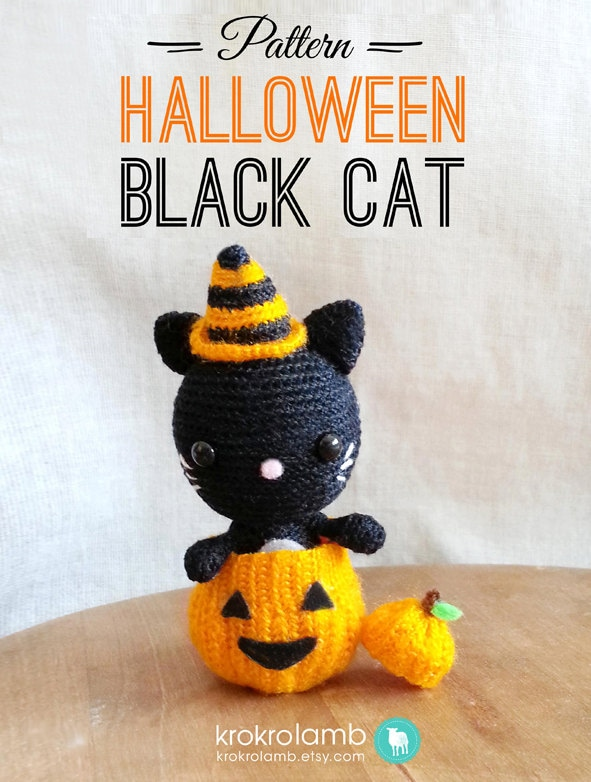 Amigurumi Black Cat Pattern : Halloween Black Cat Pattern, Crochet Halloween Pattern ...