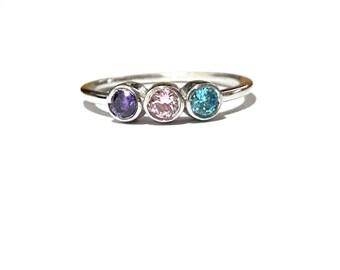 Gold Birthstone Ring-14K Gold Family Ring-Gold Mothers Ring-14K Gold Personalized Family Ring