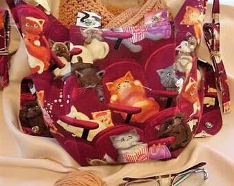 KNITTING BAG APRON - Scaredy Cats Knitting at the Movies - Please Allow 3 weeks for delivery