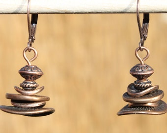 Copper Earrings Dangle Earrings Boho Chic Earrings Boho Jewelry SMALL EARRINGS Gift For Her Gift Ideas