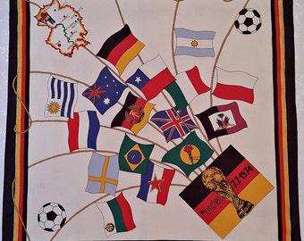 """Vintage Authentic Souvenir Fifa World Cup Munich 7.7.1974 Logo Acetate 26"""" Square Scarf"""