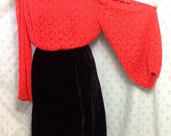 Spectacular Vintage 1960's red lace black velvet mod/party/funky dress/fabulous sleeves