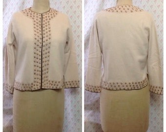 Stunning 1950's/60's Vintage fawn lambswool/angora copper/bronze beaded cardigan/jacket/evening/glamour