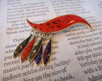 Vintage Gorgeous Unique Red Dangle Pendant Brooch Pin Vintage Jewelry