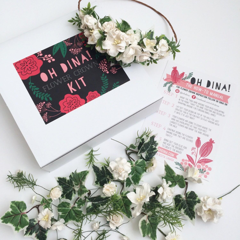 DIY Flower Crown Kit Bachelorette DIY Bridal Headpiece DIY Wedding Flower Crown White Floral