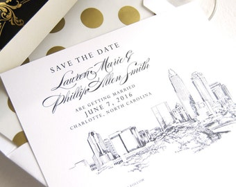 Charlotte, NC Skyline Wedding Save the Dates, Save the Date Cards Charlotte Wedding  (set of 25 cards and white envelopes)