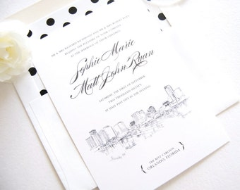 Orlando Skyline Wedding Invitation Package (Sold in Sets of 10 Invitations, RSVP Cards + Envelopes)