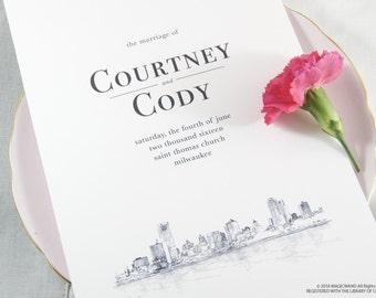 Milwaukee Skyline Wedding Programs (set of 25 cards)