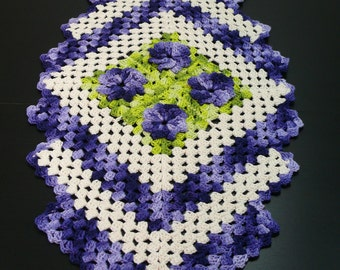 Natural with Purple 3D Flowers Hand Crochet Tablecloth.