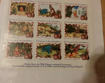 Celebration the many adventures of Winne the Pooh stamps, Collectible Pooh stamps, Winnie the Pooh stamps, mint condition Disney