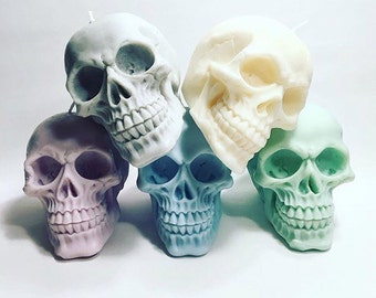 Pastel skull candles - set of three - 100% soy wax - your choice of colour & scent! Vegan friendly - Pastel decor - Birthday gift