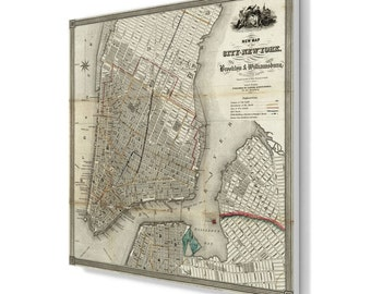 Manhattan 1840 map old style, New York canvas print CA004