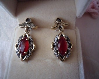 Antique vintage Sterling Silver earrings ear rings with red stones
