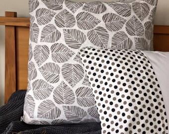 Grey/Taupe Leaf Euro Pillowcase Pair