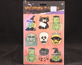 Vintage 1989 Gibson Halloween Stickers. 3 Sealed Sheets.