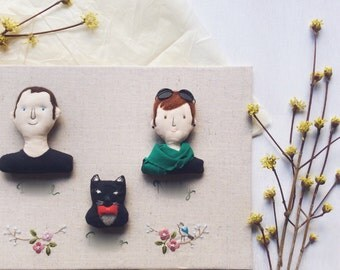Hand Embroidery doll for Three-Person