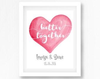 Wedding Gift Personalised, Wedding Gift for Couple, Better Together Art, Mr and Mrs Gift, Newlyweds Gift, Bride Groom Gift, Wedding Print