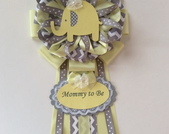 Yellow and grey chevron elephant corsage/Neutral baby shower corsage/Mommy to be corsage.