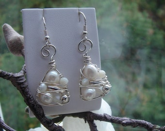 Sterling Silver! Pearl Earrings, intricately wired!
