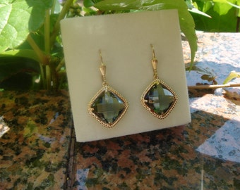 Vintage earrings, gold, gold filled with Crystal glass