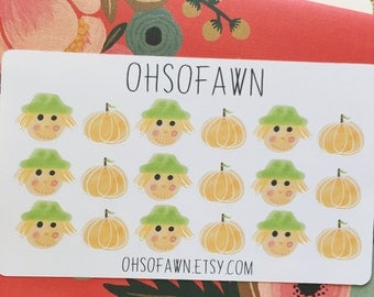 Fall Harvest Scarecrow and Pumpkin Stickers