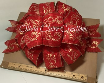 Gold Scroll Pattern on Sheer Red Holiday Bow, Christmas Bow, Gift Bow, Gift Basket, Christmas Tree Topper, Bow for Wreath, Holiday Decor
