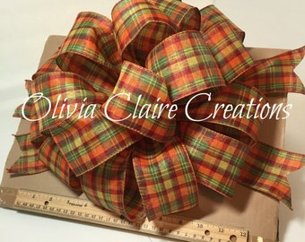 Fall Holiday Bow for Wreath, Door or Other Fall Decoration. Perfect as a Gift or Gift Basket Bow. Tartan Plaid Orange Yellow and Green Bow.
