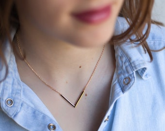 Silver V Necklace - Triangle Necklace - One of a kind - Sterling Silver or Gold fill