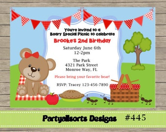 DIY - Teddy Bear's Picnic Red Invitations