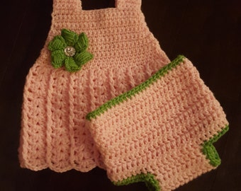 crochet Camille baby dress with diaper cover