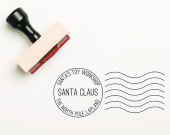 Santa Postal Stamp, Santa Stamp, Santa Mail Stamp, Santa Postal Mark Stamp, North Pole Stamp, Santa Claus Rubber Stamp, (SXMAS105)