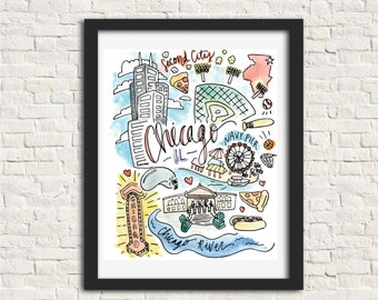 Chicago, Illinois City Illustration Wall Art Print 8 x 10