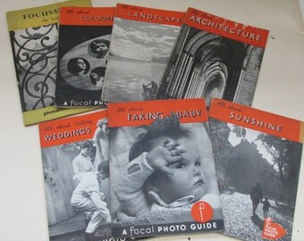 Stack of Seven 1940s Vintage 'How To' Photography Books - Weddings/Landscapes/Babies/Sunshine/Architecture/Focussing