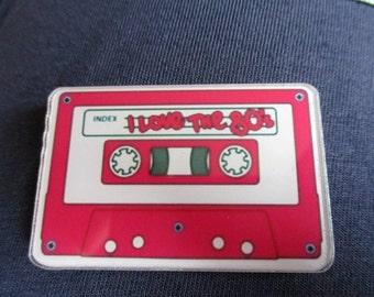 tape cassette, retro 80's, i love the 80's, resin, needleminder,  magnet