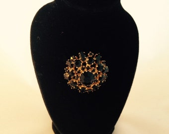 Vintage Black stone Brooch .
