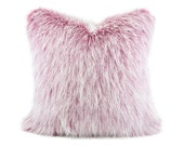 "Dark Pink/Magenta Premium Faux Fur Pillow Cover, Frosted Fake Fur Cushion, Luxury Soft Fur Throw Pillow, Frost Long Hair Fur, 20"" x 20"""