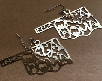 Silver Oklahoma Scroll Earrings- Oklahoma Scroll Earrings- Silver Oklahoma Earrings- Oklahoma Jewelry- Oklahoma Accessories- Oklahoma-