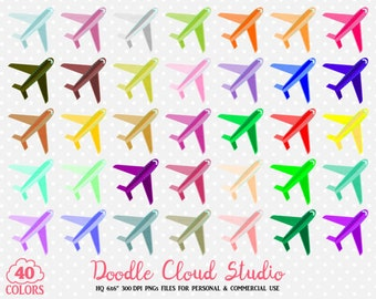 40 Colorful Airplane Clipart Travel Plane Holyday Planner Sticker Airport icon PNG with Transparent Background for Personal & Commercial Use
