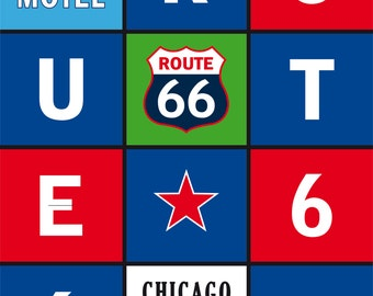 Route 66 Art Print Vintage Travel USA Poster