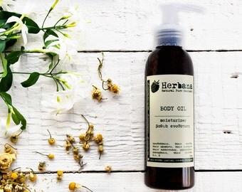 Βody oil, After Sun, Golden Glow, Non Greasy, Vegan Oil, Organic Body Oil, Aromatherapy, Massage oil, Natural Skincare by HerbanaCosmetics