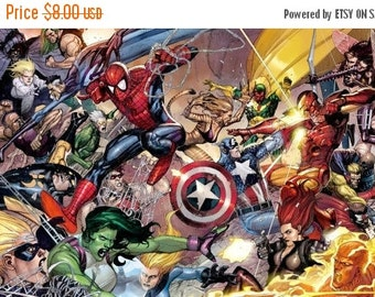 "ON SALE Counted Cross Stitch Pattern - Marvel superheroes - 21.64"" x 12.21"" - L552"