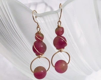 Simply red chalcedony gemstone beads dangling earrings handmade with gold wire