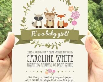 Woodland themed Baby Shower Party Invitation Printable- Invitatation Printable-digital file