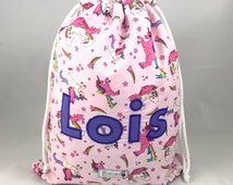 Pink Unicorn Personalised Drawstring Bag, PE Bag, Named Bag, School Bag, Shoe Bag, PE kit bag, Dancing Bag, Sleepover Bag, Nursery, Backpack
