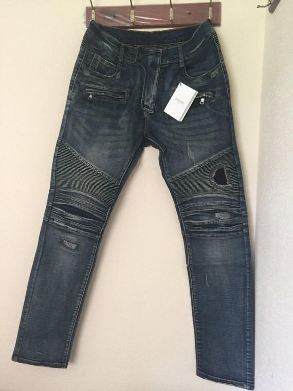 balmain herren herren biker jeans hose von gentilclothingbrand. Black Bedroom Furniture Sets. Home Design Ideas
