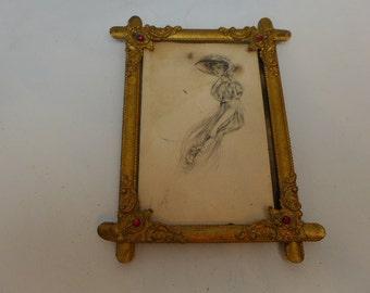 Antique Victorian Frame - Antique Jeweled Frame - Antique Fancy Brass Frame