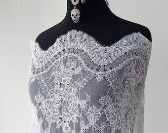 bridal lace fabric white off-white wide scallop edging with eyelashes fine cording 140cm wide