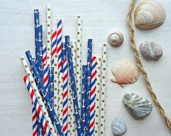 25 Nautical Paper Straws, Mix of 3 Designs