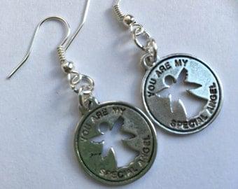 My special angel earrings, angel earrings, dangle earrings, silver earrings, angel charm