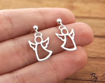 Sterling Silver Angel earrings, delicate Angel, Angel earrings, silver Angel, delicate silver, small Angel, Guardian angel, Guardian earring